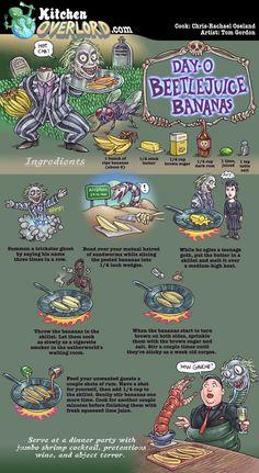 Kitchen Overlord Illustrated Geek Recipes - Beetlejuice Bananas