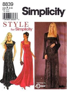 Simplicity 8839 Gothic Styled Dress 1999