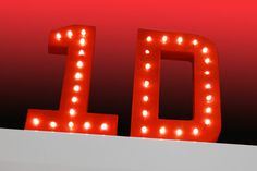 1D Marquee Letter Lights with warm white LEDs and choice of power supply, 20cm (8inch) high