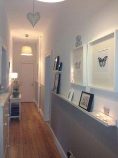 Flooring dark grey paint colors 25 new Ideas Home Design, Interior Design, Hallway Ideas Entrance Narrow, Entryway, Modern Hallway, Long Hallway, Grey Paint Colors, Cuisines Design, Wall Shelves
