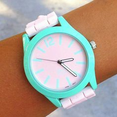 Pink and mint silicone band watch from www.gogolush.com