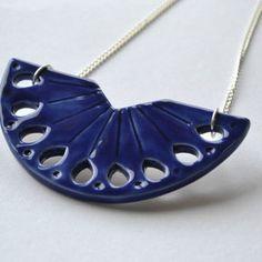 Ceramic statement necklace, royal blue bib necklace, delft blue jewelry, handmade ceramic jewellery, Valentines gift