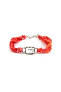 Ettika - Rectangular Silver Crystal Ribbon Bracelet