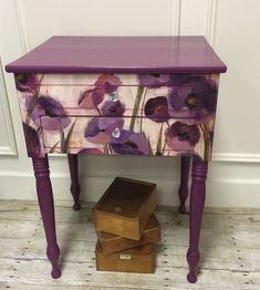 Plum Floral | General Finishes #decoupagefurniture. Maybe my TV stand!
