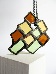 Stained glass MODERN STATEMENT NECKLACE Earthy by emporiumJULIUM