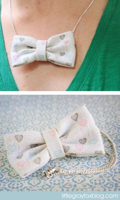 DIY Little Gray Fox: Stamped Bow Necklace Tutorial. Fun For Kids! I'm so making this into hair bows and neck bows for boys! Fabric Jewelry, Diy Jewelry, Jewelry Making, Jewellery, Diy Accessoires, Bow Necklace, Necklace Tutorial, Diy Bow, Crafty Craft
