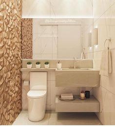 """9,582 curtidas, 61 comentários - ARQUITETURA E INTERIORES ✨ (@decoreinteriores) no Instagram: """"Que lindeza de lavabo! Os revestimentos escolhidos deram um destaque incrível pra esse ambiente.…"""""""