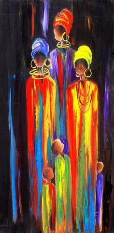 African Women Painting - Motherhood by Marietjie Henning