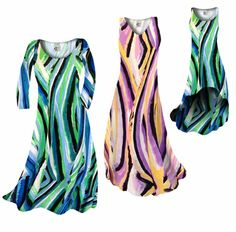 FINAL SALE! Green Stripes Slinky Plus Size Supersize A Line Dress 1x 4x