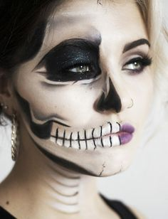 """inspiration about Halloween Half Face Makeup Ideas you can read the full article. So checkout Amazing Halloween Half Face Makeup Ideas For You To Try"""" Half Face Halloween Makeup, Visage Halloween, Clown Halloween, Halloween Looks, Halloween Costumes, Halloween Halloween, Halloween Contacts, Skeleton Makeup Tutorial, Half Skeleton Makeup"""
