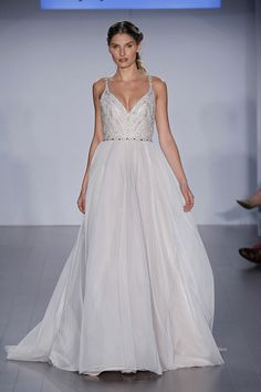 Style * HP6510 * ROXANNE  Bridal Gowns, Wedding Dresses  Spring 2015 Collection  by Hayley Paige  Shown Moonstone English net A-line bridal gown, beaded V-neck ballerina bodice with open V-back and studded strap detail, soft flowing circular skirt.