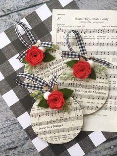 Christmas Carol Music Ornament, Decoupaged with Glitter, Red Felt Flower, Set of 3