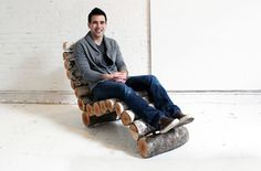 Crafty Wood Log Chaise Lounge