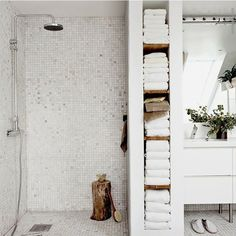 #Bathroom envy! Creative #storage area between the shower & vanity area. #interiordesign #homedesign #remodel (not our photo - sorry no link)
