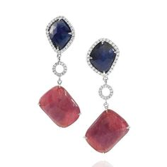 Ruby, Sapphire, and Pavé Diamond Gold Earrings | From a unique collection of vintage dangle earrings at https://www.1stdibs.com/jewelry/earrings/dangle-earrings/