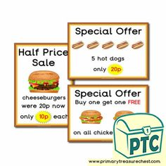 Fast Food Takeaway Role Play Resources - Primary Treasure Chest Teaching Activities, Teaching Ideas, Ourselves Topic, Dogs For Sale, Candy Shop, Role Play, Treasure Chest, Sweets, Foods