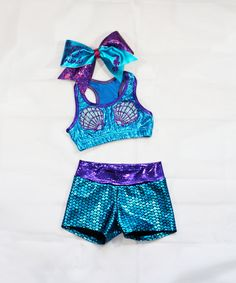 Mermaid workout set includes sports bra, shorts and bow on Etsy, $55.00