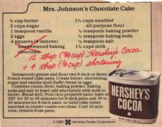 Chocolate cake recipe from cocoa powder - Good cake recipes Retro Recipes, Old Recipes, Vintage Recipes, Baking Recipes, Cake Recipes, Dessert Recipes, Family Recipes, Recipies, Cocoa Recipes
