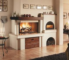 Farmhouse Fireplace, Home Fireplace, Home Decor Kitchen, Kitchen Design, Bio Ethanol, Interior Decorating Styles, Cabins And Cottages, Indoor Pizza Oven, House Plans