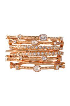 RJ Graziano Rose Gold Scalloped Bangle Set (http://www.renttherunway.com/shop/designers/bracelets_jewelry/rosegoldscallopedbangleset)