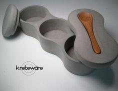 Concrete 3EVO salt cellar spice jar tray with spoon por kreteware