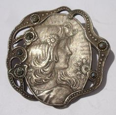Victorian Vintage Button  (Girl Image, Cut Steels Antique Metal Buttons, 1940 Pewter Collectible)
