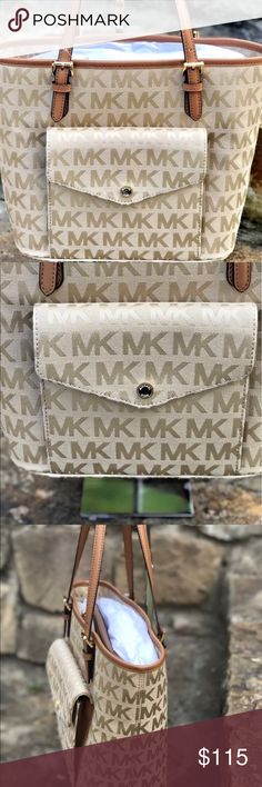 FIRM PRICE Michael Kors Jetset tote camel jacquard This is a beautiful Michael Kors medium tote bag in the color camel from the jet set item collection. The purse has a snap pocket in the front. Michael Kors Bags Totes