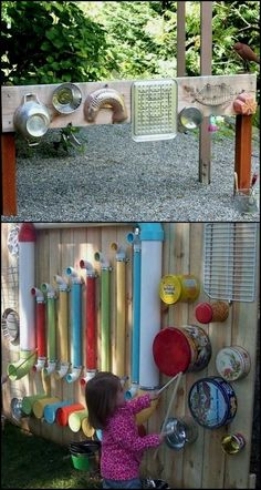 Want your little kids to explore and be more active outdoors? Then you've got to give them something that's really fun and entertaining, like this DIY outdoor music wall! There are many ways to create an outdoor music or sound wall, Outdoor Play Spaces, Kids Outdoor Play, Kids Play Area, Childrens Play Area Garden, Kids Play Spaces, Outdoor Toys, Outdoor Games, Outdoor Fun, Outdoor Ideas