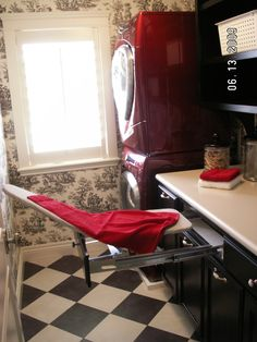 Black And White Country Wallpaper With The Red Washer Dryer