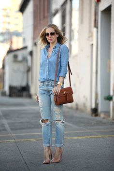 ripped jeans with chambray shirt