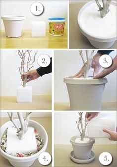 Tree branch centerpieces.  Can also use spray foam or just tall vases.