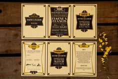 Great Gatsby 1920's themed Black and Yellow Wedding invitation stationary by Dottie Creations. Find out More at www.dottiecreations.com