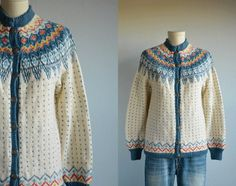 Vintage Norwegian Fair Isle Cardigan / by zestvintage Knit Jacket, Sweater Jacket, Norwegian Knitting, Vintage Sweaters, Mantel, Space Images, North Sea, Pullover, Clothing Ideas