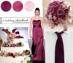 Paleta de cores: vinho, lilás e branco