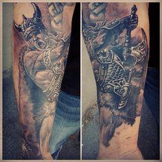 Black and Grey Viking Sleeve Tattoo