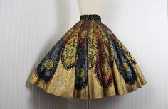 1950s Skirt - Peacock Feathers Mexican Hand Painted Novelty Sequined Metallic Gold Circle Skirt