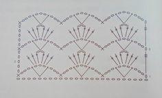 Con  i  gomitoli  di  Tommy...: Motivo di pizzo all'uncinetto Crochet Borders, Crochet Diagram, Crochet Chart, Crochet Stitches, Crochet Patterns, Crochet Home, Love Crochet, Crochet Granny, Yarn Crafts