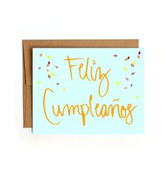 Feliz Cumpleanos Card  Happy Birthday Card  by FloatingSpecks