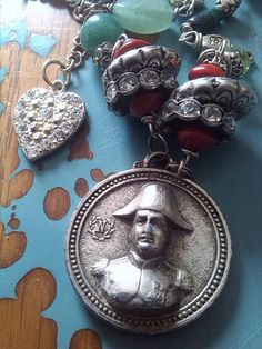 Wow I love this piece. I have made this wonderful assemblage necklace using a gorgeous Medal from France Unusual Jewelry, Antique Jewelry, Vintage Jewelry, Heart Jewelry, Royal Jewelry, Silver Jewelry, Jewellery, Admiral Of The Fleet, French Souvenirs