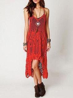Bohemia Crochet Hollow Spaghetti-neck High-low Maxi Dress – oshoplive
