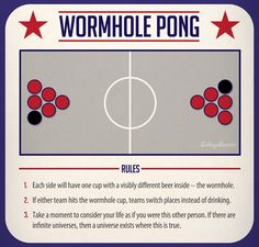 7 New Versions of Beer Pong - Wormhole Pong Style   |   CollegeHumor.com Drinking Games For Parties, Adult Party Games, Beer Pong Reglas, Drunk Games, Beer Games, Funny Games, Christmas Party Games For Adults, Alcohol Games, Alcohol Humor