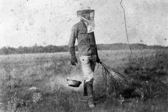 Florida East Coast Railway employee controlling for mosquitoes - Cape Sable, Florida Florida East Coast, Mosquitoes, Old Photos, Caption, Cape, Memories, Old Pictures, Mantle, Memoirs
