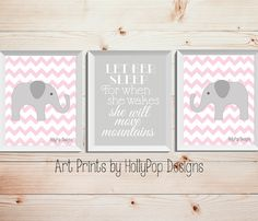 Let Her Sleep-She will move mountains-Pink Gray Nursery Decor-Childrens Art Prints-Elephant Nursery Art-Pink-Kids Room Wall Art-Quote Print