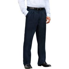 George - Big Men's Wrinkle-Resistant Pleat-Front Khaki Pants, Size: 50 x 32, Blue