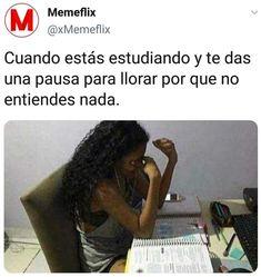 En unas semana para los exámenes finales :( Sad Alone, Spanish Memes, Comedy Central, Life Humor, Best Memes, Funny Images, Funny Quotes, School, Learning