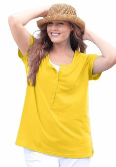 d8dcaf826f1 Woman Within plus size 1X 22 24 perfect t-shirt with scoop Henley neck