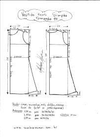 Esquema de modelagem de Vestido Regata Simples tamanho 44.