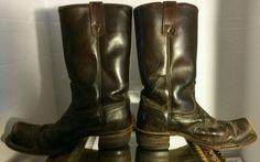 CAT'S PAW Men's Cowboy Buckaroo Western Boots Leather Shoes Vintage Brown 7.5EE #CatsPaw #CowboyWestern