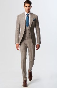 Beige and Teal Silk & Wool Notch Lapel With MF Shawl Lapel V-Waisted Ve. Latest Mens Fashion, Mens Fashion Suits, Mens Suits, Terno Slim, Moda Formal, Style Masculin, Brown Suits, Classy Men, Summer Suits