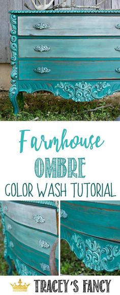 Learn this gorgeous Farmhouse Ombre Color Wash with Tracey's Fancy   How to Paint Furniture   Painting Tutorial   Furniture Painting Ideas   Painted Furniture Ideas   Dresser Makeover   Gradient Painting